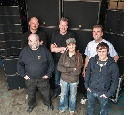 Back row is Mick Storrie (R&B), Ian Nelson (Adlib), Antony Crerar (R&B) - Front row : Andy Main, Lucy McClelland and Chris Ryan – all R&B