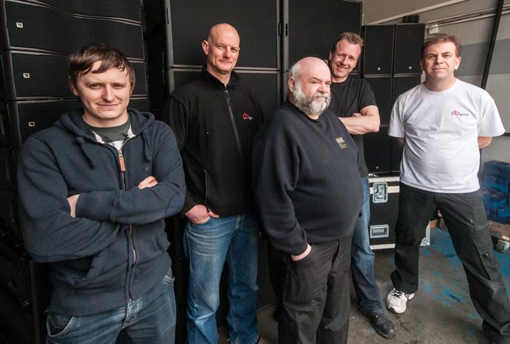 Left to right is Chris Ryan, Mick Storrie, Andy Main (all from R&B), Ian Nelson (Adlib) and Antony Crerar (R&B)