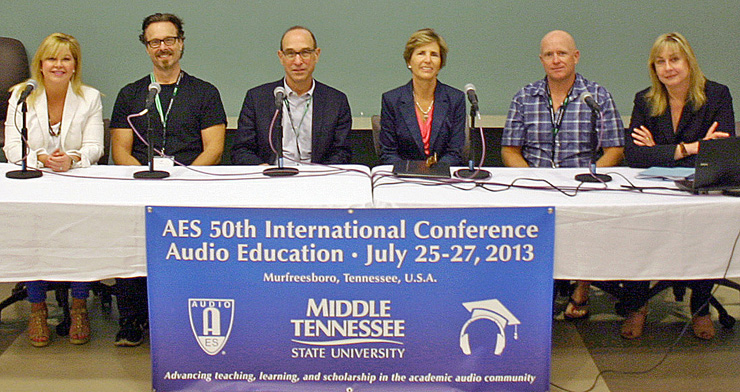 """Leading members of The Recording Academy® hold a panel entitled, """"Pearl-Cohn High School: A Case Study of Collaboration Between Industry and Education."""" Shown L-R: Susan Stewart (The Recording Academy), Jeff Balding (The Recording Academy Producers & Engineers Wing), Sam Lorber (Pearl-Cohn High School), Laurie T. Schell (Music Makes Us, Metro Nashville Public Schools), Julian King (P&E Wing) and Maureen Droney (Senior Executive Director, P&E Wing). Photo by Robert Clyne, Clyne Media Inc."""