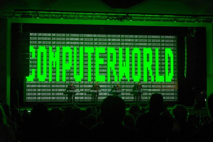 Kraftwerk, flanked by K2 arrays, performing at Moogfest 2014 (photo credit: Ryan Powell).