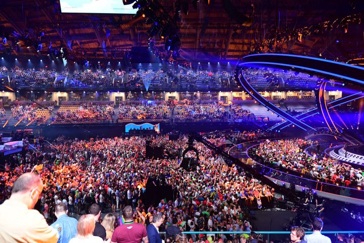 Seventeen Robe RoboSpot Base Stations controlling tracking Robe BMFL fixtures provided a comprehensive remote follow spotting solution for production lighting designer Jerry Appelt at the 2018 Eurovision Song Contest.